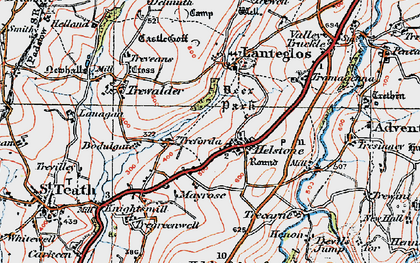 Old map of Helstone in 1919