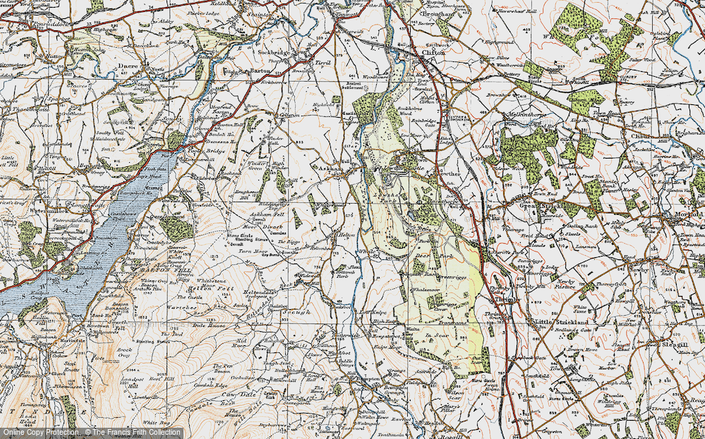 Old Map of Historic Map covering Askham Fell in 1925