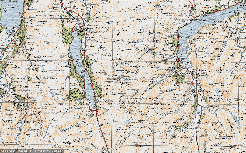 Old Map of Historic Map covering Wythburn in 1925
