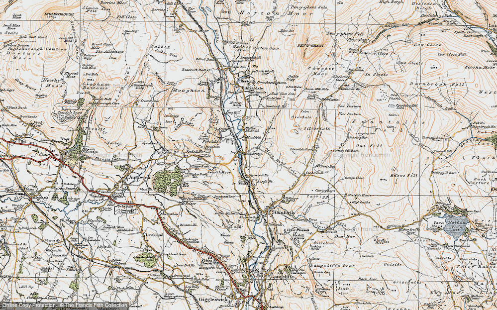 Old Map of Historic Map covering Bargh Ho in 1924