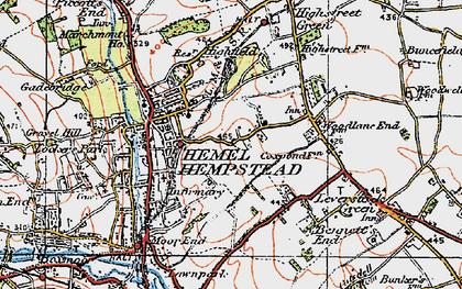 Old map of Hemel Hempstead in 1920
