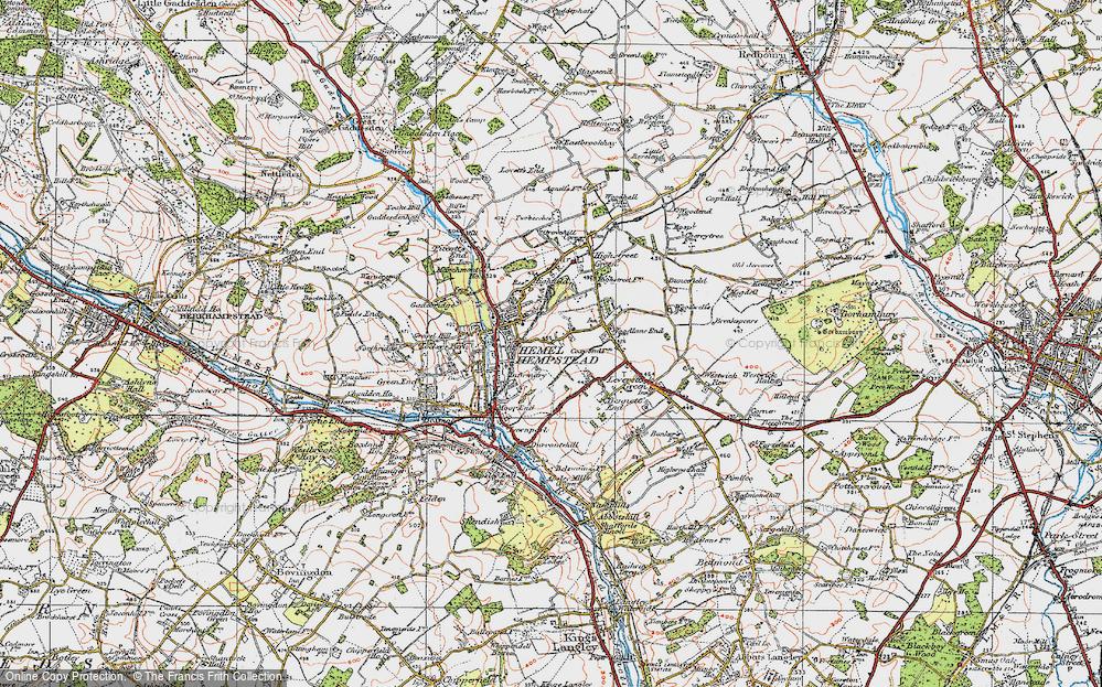 Map of Hemel Hempstead 1920 Francis Frith