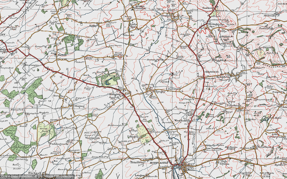 Old Map of Historic Map covering Asterby Grange in 1923