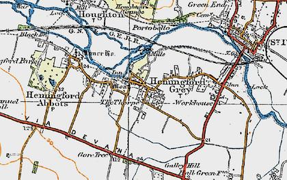 Old map of Hemingford Grey in 1919