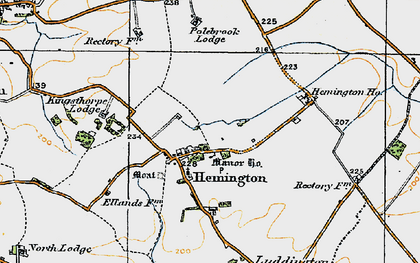 Old map of Ashton Wold in 1920