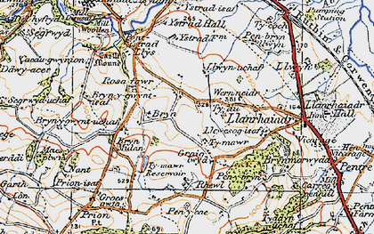 Old map of Ystrad Hall in 1922