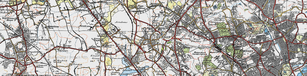 Old map of Hendon in 1920