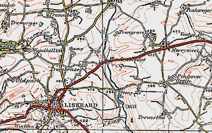 Old map of Hendrabridge in 1919