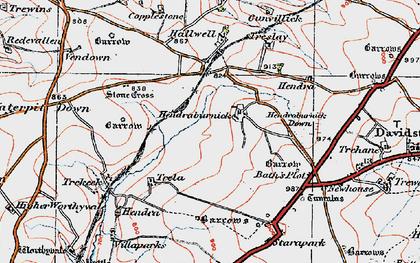 Old map of Hendraburnick in 1919