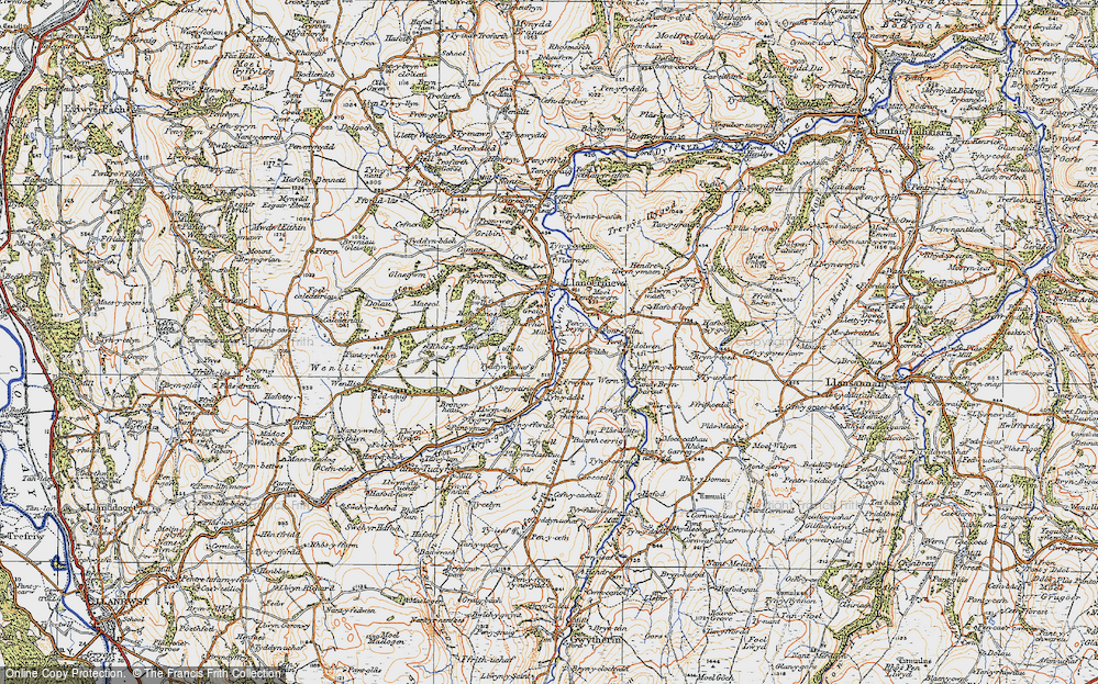 Old Map of Historic Map covering Afon Gallen in 1922