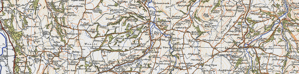 Old map of Afon Gallen in 1922