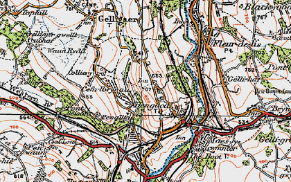 Old map of Hengoed in 1919