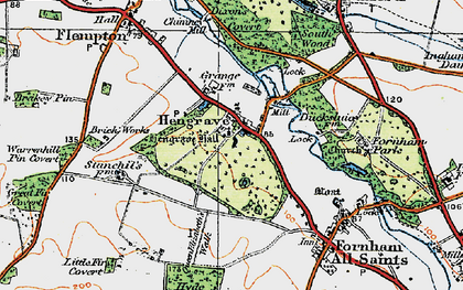 Old map of Hengrave in 1920