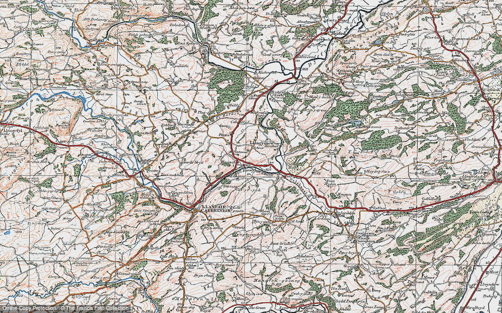 Old Map of Historic Map covering Afon Banwy neu Einion in 1921