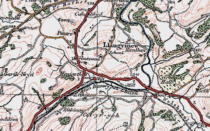 Old map of Afon Banwy neu Einion in 1921