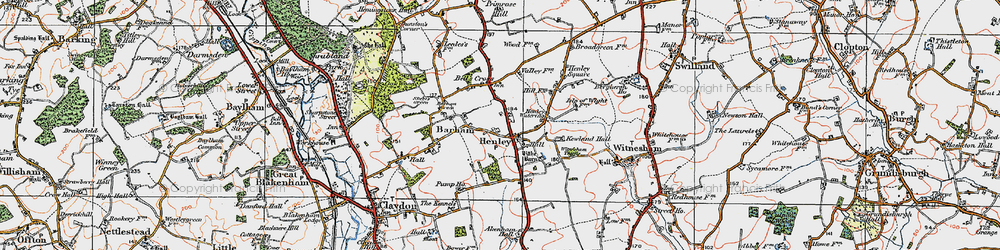 Old map of Witnesham Thicks in 1921