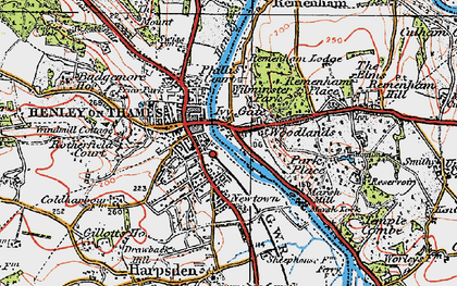 Old map of Henley-on-Thames in 1919