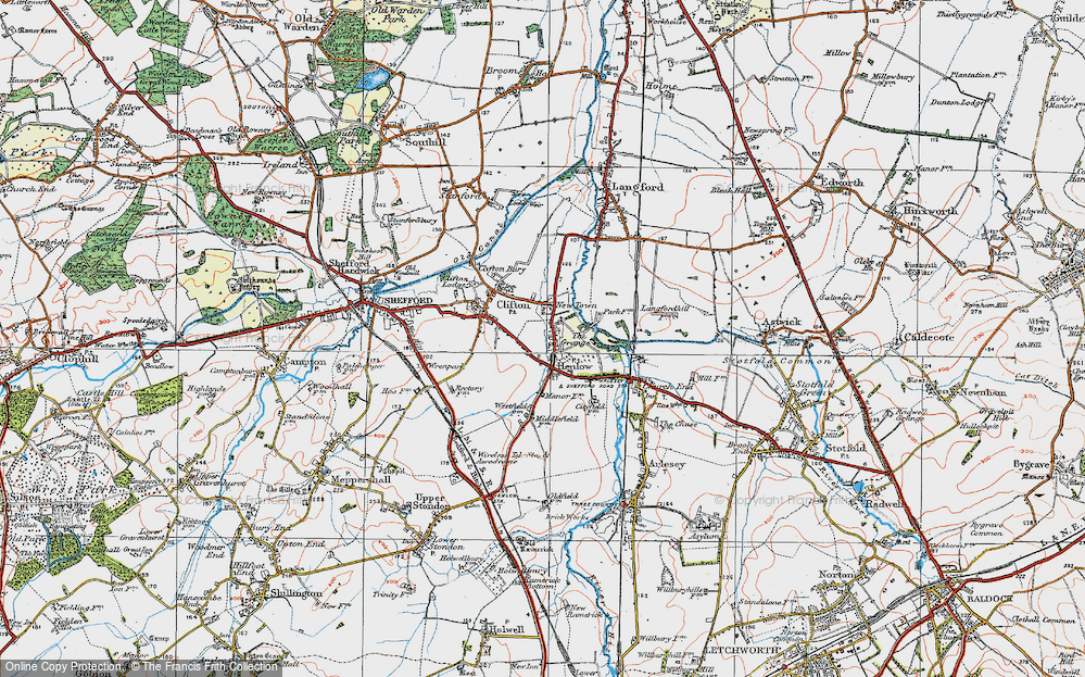 Old Map of Henlow, 1919 in 1919