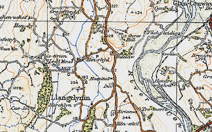 Old map of Afon Conwy in 1922