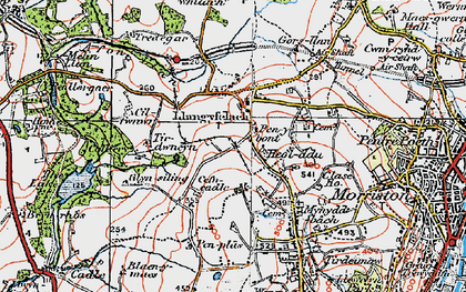 Old map of Afon Llan in 1923