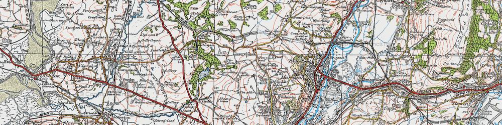 Old map of Afon Llan in 1923