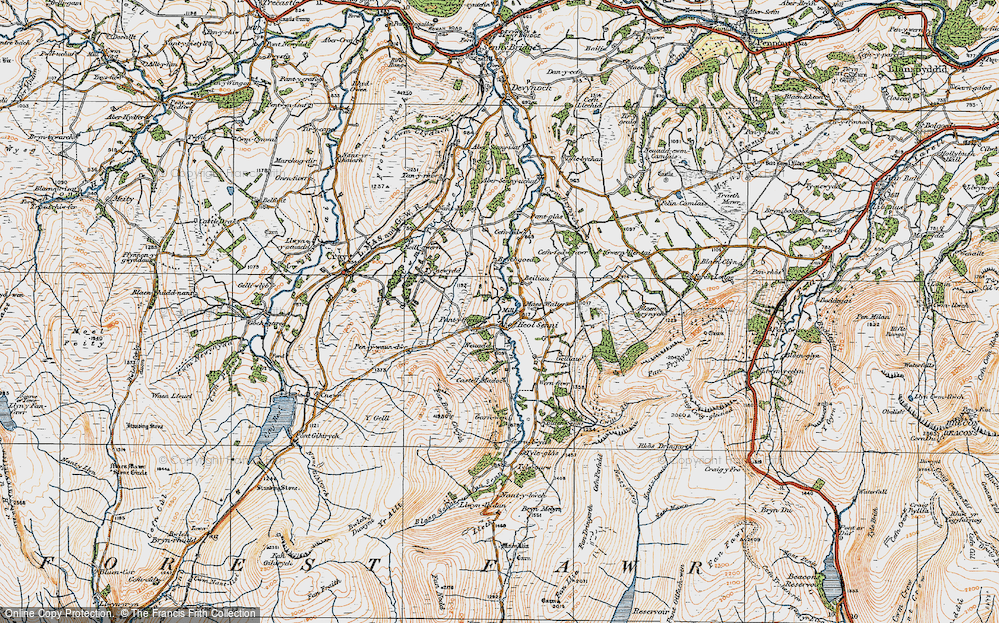 Old Map of Historic Map covering Afon Senni in 1923