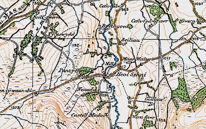 Old map of Afon Senni in 1923