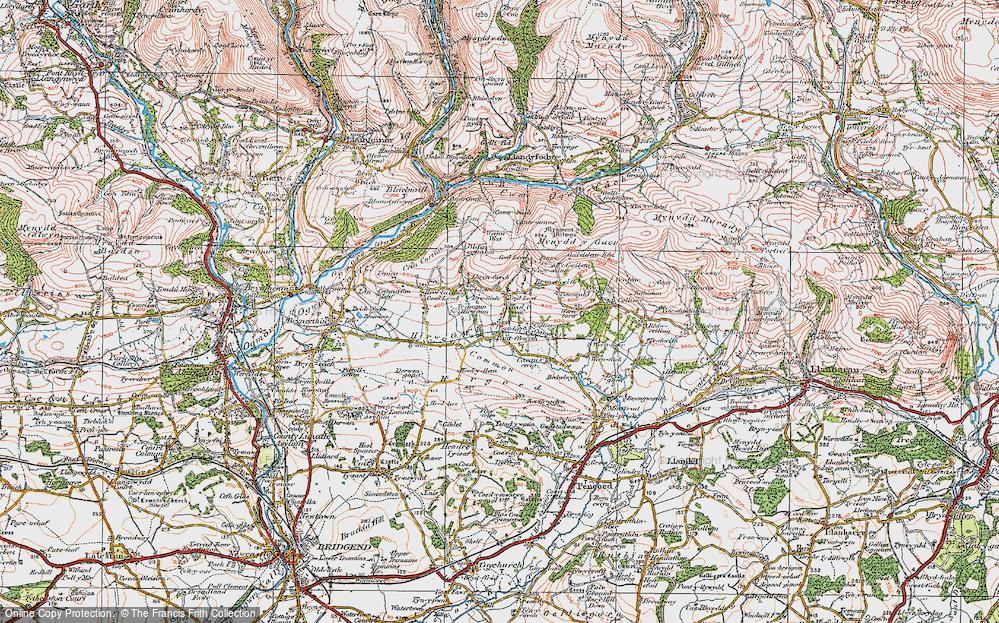 Old Map of Heol-y-Cyw, 1922 in 1922