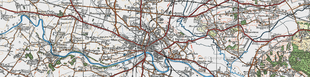 Old map of Hereford in 1920