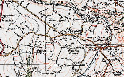 Old map of Afon Gafel in 1922