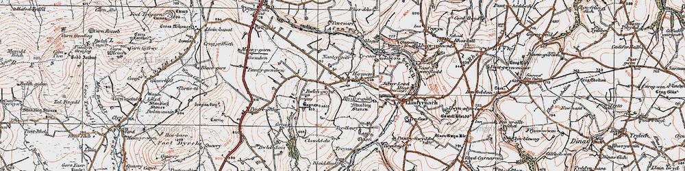 Old map of Afon Gafel in 1922