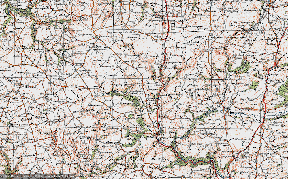Old Map of Historic Map covering Afon Duad in 1923