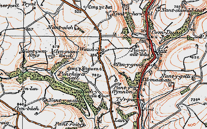 Old map of Afon Duad in 1923