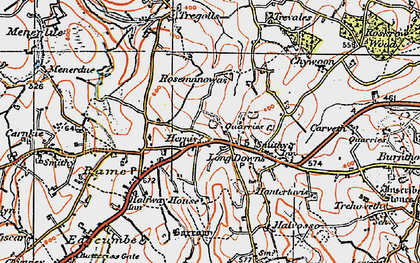 Old map of Herniss in 1919