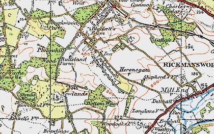Old map of Heronsgate in 1920