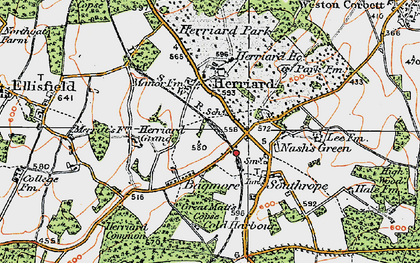 Old map of Herriard in 1919