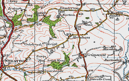Old map of Hersham in 1919