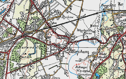 Old map of Hersham in 1920