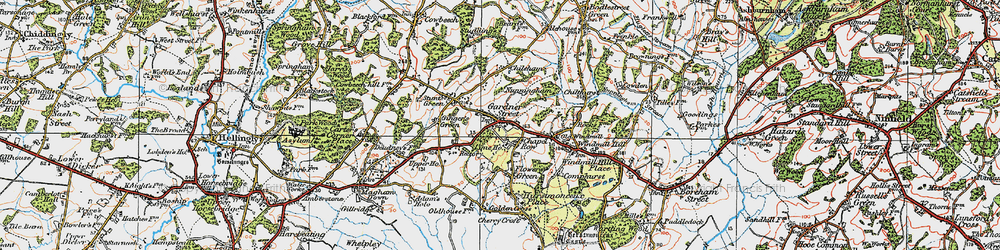 Old map of Herstmonceux in 1920