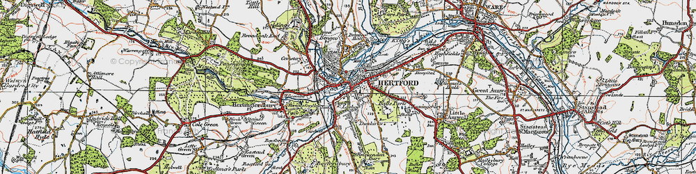 Old map of Hertford in 1919