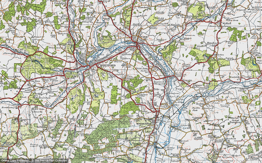 Old Map of Historic Map covering Balls Wood in 1919