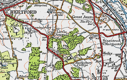 Old map of Balls Wood in 1919