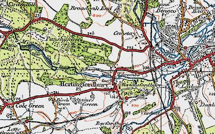 Old map of Hertingfordbury in 1919