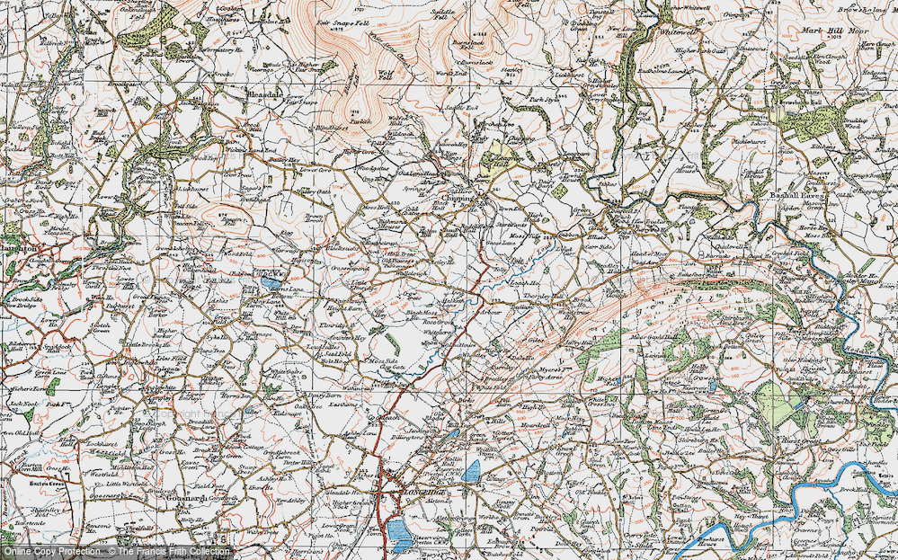 Old Map of Historic Map covering Leach Ho in 1924