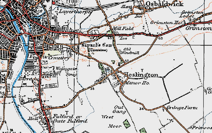 Old map of Heslington in 1924