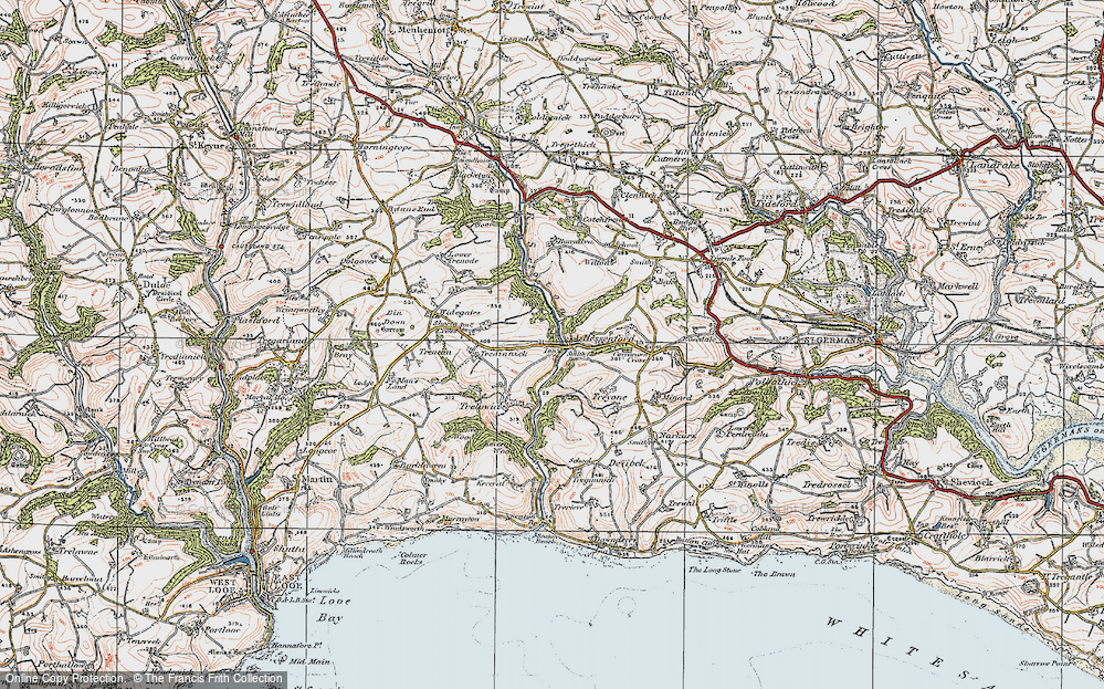 Old Map of Historic Map covering Bake Wood in 1919