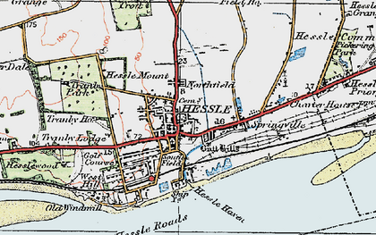 Old map of Hessle in 1924