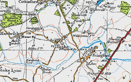 Old map of Willaston Village in 1919