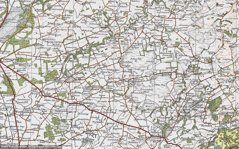 Old Map of Historic Map covering Leaps Rigg in 1925