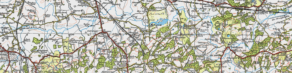 Old map of Hever in 1920